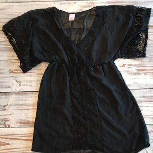 Black Sheer Swim Suit Cover Up